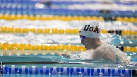 Scotland's Toni Shaw competes in the 100m breaststroke at the British Para-Swimming International Meet at Ponds Forge