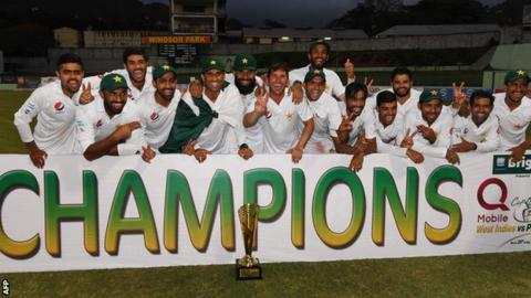 Pakistan celebrate their historic Caribbean win