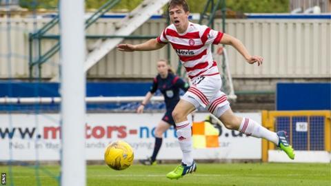 Louis Longridge scores for Hamilton against Inverness