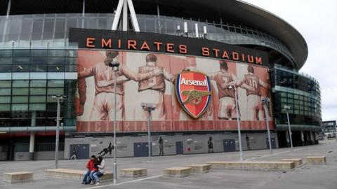 A general view outside Arsenal's home ground Emirates Stadium