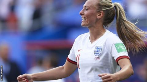 Toni Duggan in action for England