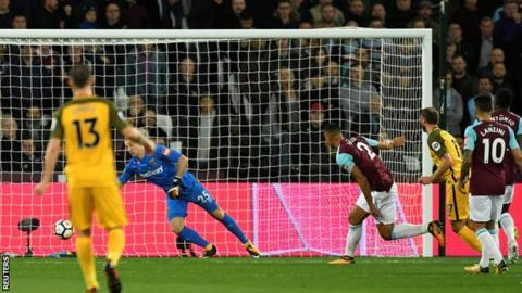 Glenn Murray heads in for Brighton against West Ham