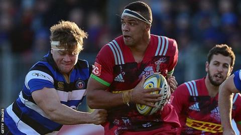 Harlequins' Ben Glynn carries the ball against Bath