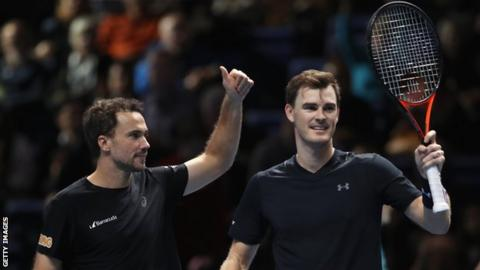 Jamie Murray (right) and Bruno Soares at the ATP World Tour Finals in November