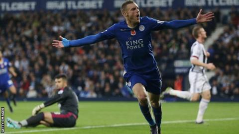 Leicester's Jamie Vardy scores against West Brom