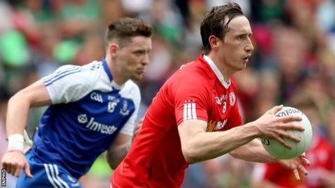 Monaghan's Conor McManus and Tyrone's Colm Cavanagh