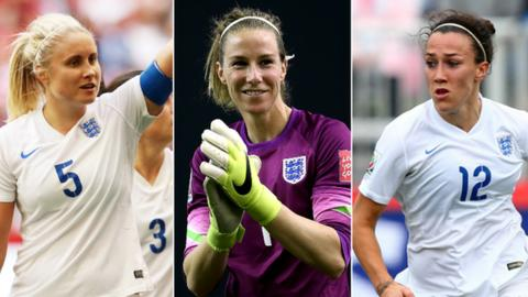 Steph Houghton, Karen Bardsley and Lucy Bronze