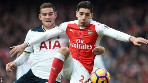 Arsenal right-back Hector Bellerin in action against Tottenham striker Vincent Janssen