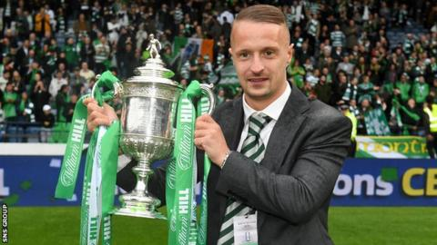 Leigh Griffiths joined in with Celtic's Scottish Cup celebrations on Saturday