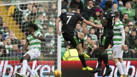 John McGinn scores his first goal for Hibernian against Celtic