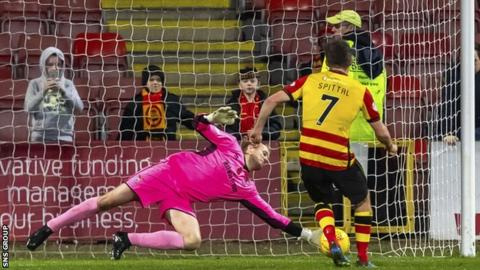 Mark Ridgers kept out a penalty from Blair Spittal as Inverness held on to win at Firhill