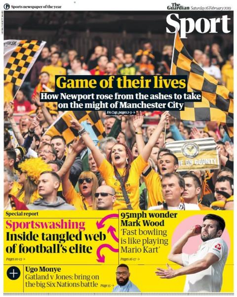 Guardian back page on Saturday