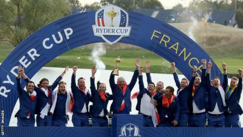 Team Europe celebrating winning the Ryder Cup in 2018