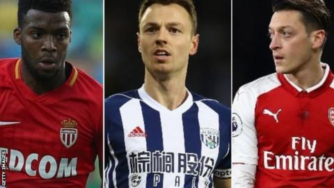 Thomas Lemar, Jonny Evans and Mesut Ozil