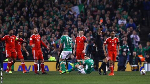Wales defender Neil Taylor was sent off for his tackle on Republic of Ireland's Seamus Coleman
