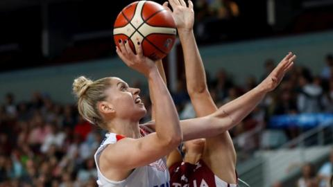 Johannah Leedham in action for Great Britain against Latvia