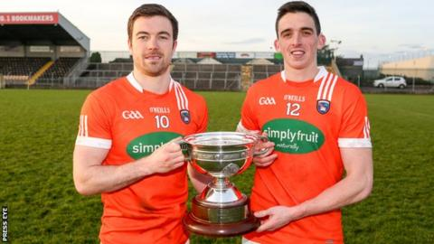 Armagh joint-captains Aidan Forker and Rory Grugan with the O'Fiaich Cup
