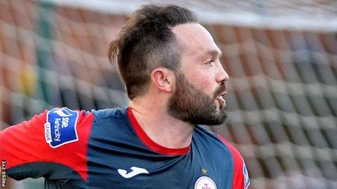 Raffaele Cretaro celebrates after putting Sligo ahead at the Brandywell