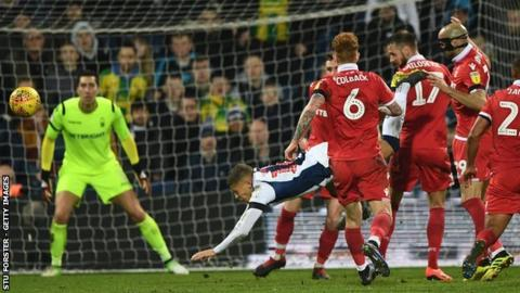 Albion's match-saving penalty was given for Alexander Milošević's challenge on Dwight Gayle