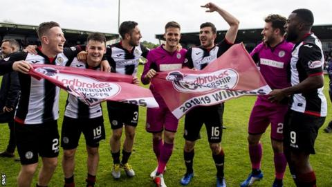 St Mirren celebrate winning the play-off with Dundee United