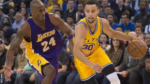 Stephen Curry (left) with Kobe Bryant