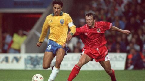 Barry Horne and Wales enjoyed a first ever victory over Brazil in 1991 at the National Stadium in Cardiff. Dean Saunders scored in a 1-0 friendly win.