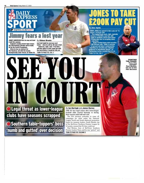 Back page of the Express on Friday, 27 March