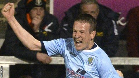 Allan Jenkins celebrates after scoring in Ballymena United's League Cup Final win over Carrick Rangers