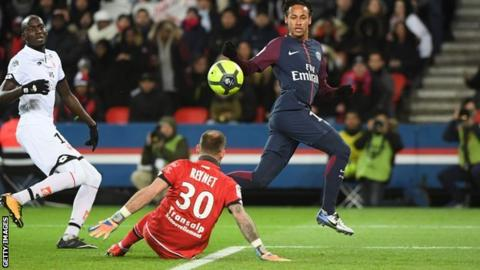 Neymar scores one of his four goals against Dijon