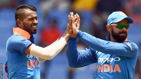 India captain Virat Kohli (right) and all-rounder Hardik Pandya