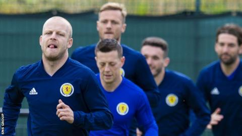 Steven Naismith training with Scotland last month