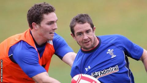 George North tries to tackle Shane Williams in Wales training in 2010
