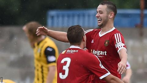 Ryan Wallace (right) celebrates with Albion Rovers