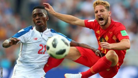 Dries Mertens (right) in action for Belgium against Panama