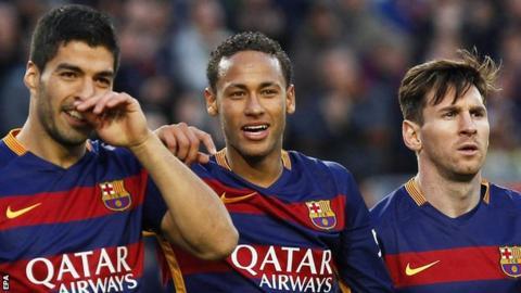 (left to right) Barcelona Luis Suarez, Neymar and Lionel Messi