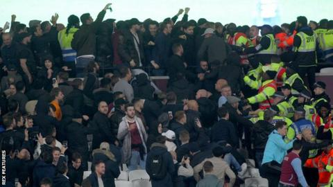 Fan violence at West Ham v Chelsea