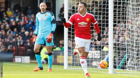 Memphis Depay celebrates scoring a goal for Manchester United against Watford in November 2015