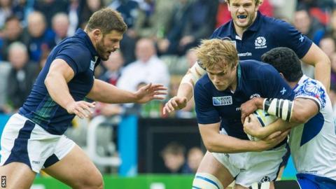 Scotland's Ross Ford and Jonny Gray against Samoa