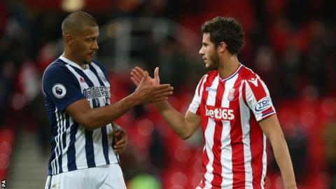 West Brom's Salomon Rondon (left) and Stoke's Ramadan Sobhi