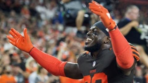 Cleveland Browns defensive back Jabrill Peppers celebrates the win