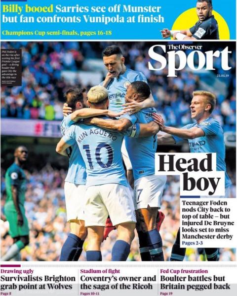 Sunday's Observer sport front page