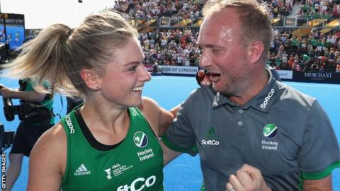 Chloe Watkins and Graham Shaw celebrate the World Cup semi-final victory over Spain