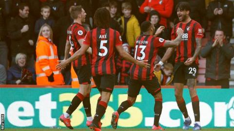 Philip Billing scores Bournemouth's first goal against Aston Villa