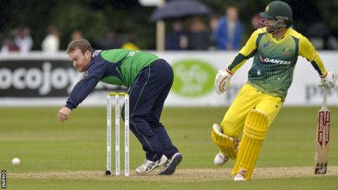 Ireland's Paul Stirling and Australia batsman Matthew Wade in action in the Stormont ODI in August