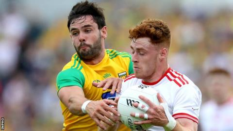 Odhran MacNiallais battles with Tyrone's Conor Meyler in last year's Super 8s contest in Ballybofey