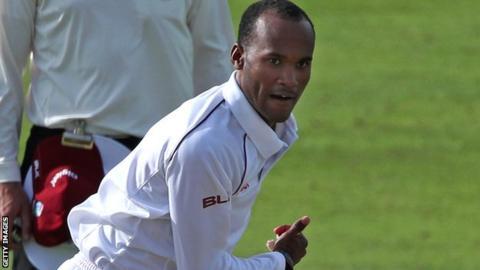 Kraigg Brathwaite bowling for the West Indies