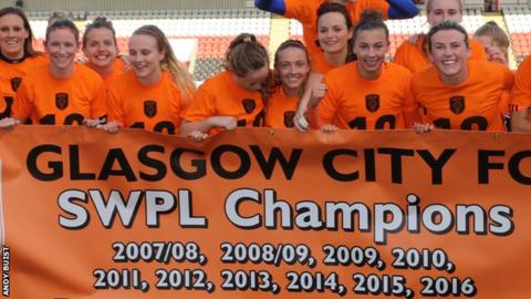 Glasgow City celebrate their 10th successive SPWL title