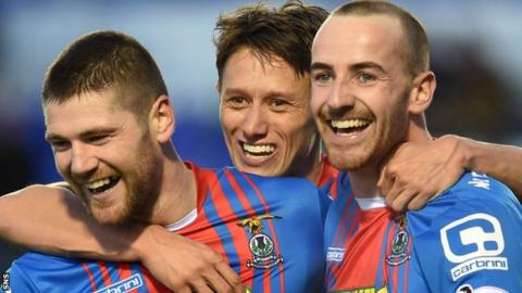 Ian Vigurs, Danny Williams and James Vincent celebrate with Caley Thistle
