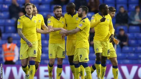 Leeds players celebrate Stuart Dallas' opener against Birmingham