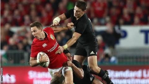 Liam Williams tackled by Beauden Barrett during Lions Test